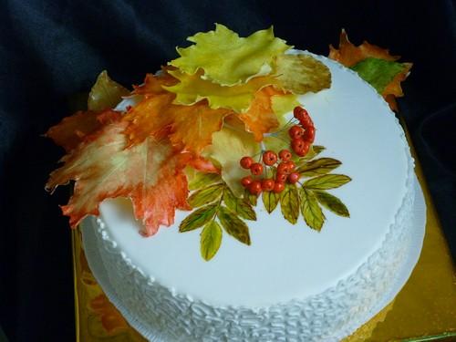 осеннее украшение тортов с фото